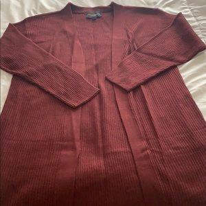 Burgundy long cardigan